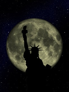 Full Moon and Statue of Liberty